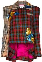 Shuting Qiu asymmetric sequinned checked jacket