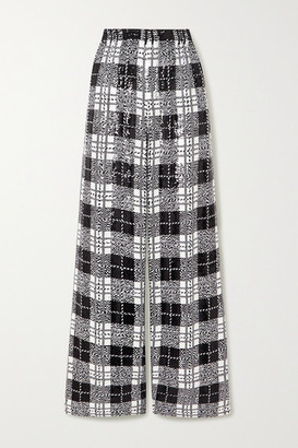 Balenciaga Checked Sequined Tulle Wide-leg Pants - Black