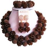 laanc Womens Nigerian Wedding African 2Rows Jewelry Sets Red Beige 18inch Necklace