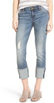 KUT from the Kloth Women's Cameron Roll Cuff Straight Leg Jeans