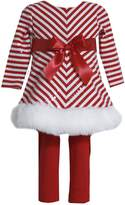 Bonnie Baby Bonnie Jean Girls Sequins Christmas Santa Dress Legging Outfit, 3-6M