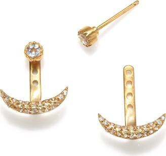 Satya Jewelry Women's White Topaz Gold Moon Jacket Earrings