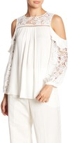 Hale Bob Lace Trimmed Cold Shoulder Top