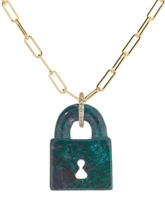 Lee Jones Azurite Malachite Pad Lock Chain Necklace - Yellow Gold