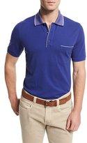 Loro Piana Regatta Short-Sleeve Pique Polo Shirt, Blue Navy