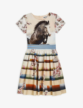 Molo Floral horse-floral stretch-organic cotton dress 3-12 years