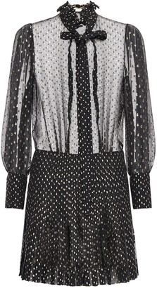 Saint Laurent Lurex Dot Silk Sheer Muslin Mini Dress