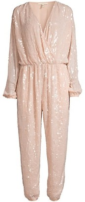Rosa Cha Lena Sequin Faux-Wrap Tapered Jumpsuit