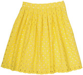 Bonpoint Childrenswear Concerto Pleated Cotton Eyelet Skirt, Yellow, Size 3-8