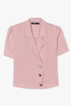 Nasty Gal Womens No If's or Buttons Puff Sleeve Cropped Blouse - Rose