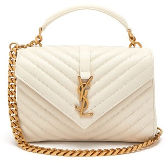 Saint Laurent College Monogram Quilted-leather Cross-body Bag - White