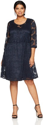 Junarose Women's Plus Size Gin Three Quarter Sleeve Above Knee Dress