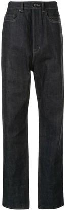 Rick Owens Raw Straight Leg High-Rise Denim Jeans