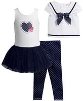 Youngland Toddler Girl Popover Sailor Top, Knit Dress & Polka-Dot Leggings Set