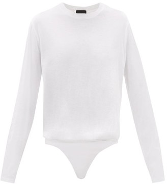 ATM - Gathered Cotton-jersey Bodysuit - White