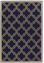 Linon Navy Quatrefoil Reversible Outdoor Rug (6'6 x 9'6)