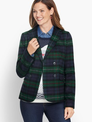 Talbots Brushed Wool Double Breasted Blazer