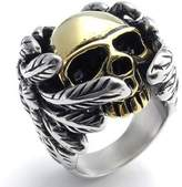 Konov Jewelry Stainless Steel Band Fancy Gothic Wing Skull Biker Mens Ring