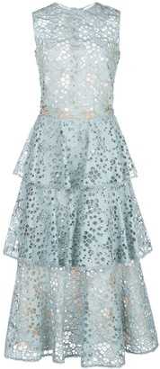 Oscar de la Renta Cut-Out Tiered Dress