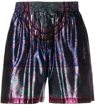 Versace Metallic Sheen Abstract Print Track Shorts