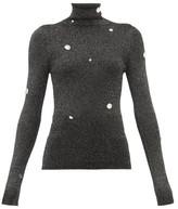 Christopher Kane Crystal-embellished Roll-neck Lame Sweater - Womens - Dark Grey