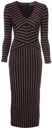 Fleur Du Mal Mitered striped longsleeve dress