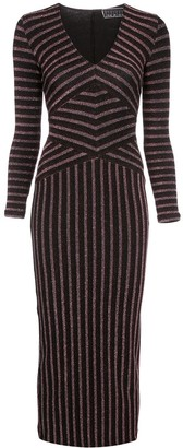 Fleur Du Mal Mitered striped longsleeve dress