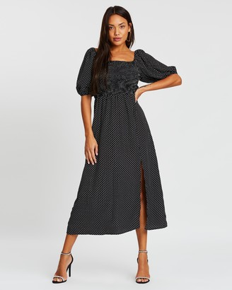 Missguided Milkmaid Shirred Bust Midi Dress