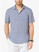 Chambray Linen Short-Sleeve Shirt
