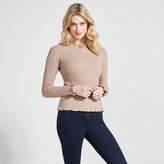 Apricot Stone Cable & Ribbed Knit Jumper
