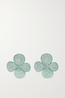 G BY GLENN SPIRO Clover Leaf Titanium Diamond Earrings - Green