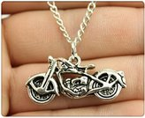 Nobrand No brand fashion antique silver tone 34*16mm Motorcycle pendant necklace, 70cm chain long necklace