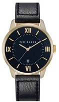 Ted Baker Men's Round Leather Strap Watch, 41Mm