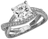 Houston Diamond District 1.03 Carat t.w. 14K White Gold Princess Eternity Love Criss Cross Twisting Split Shank Diamond Engagement Ring SI2-I1