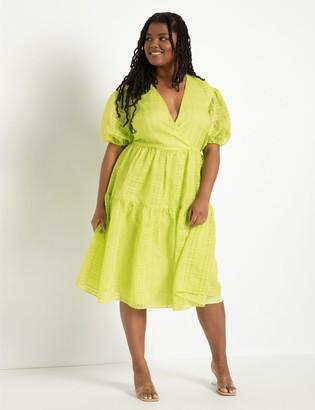 ELOQUII Puff Sleeve Sheer Dress