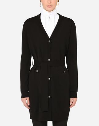 Dolce & Gabbana Long Belted Wool Cardigan
