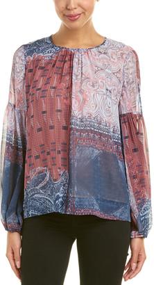 BCBGMAXAZRIA Bishop Sleeve Silk Blouse