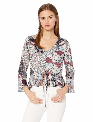 Jessica Simpson Women's Bronwyn Bell Sleeve Printed Blouse