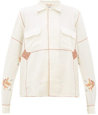 Bode - Mayflower Havana-embroidered Linen-blend Shirt - Womens - White