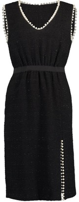 Giambattista Valli Black Sleeveless Pearl Detail Tweed Dress