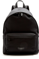Givenchy Leather-appliqué canvas backpack