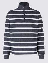 Marks and Spencer Cotton Rich Striped Half Zipped Sweatshirt