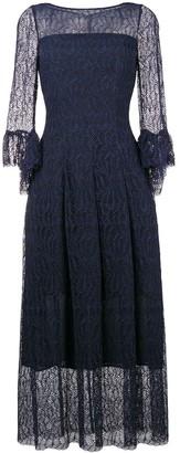 Talbot Runhof Lace Flared Midi Dress