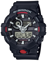 Casio Ga-7001-aer G-shock Chronograph Digital Resin Strap Watch, Black/grey
