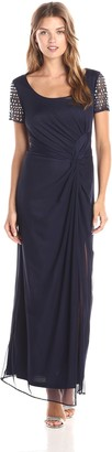 Marina Women's Embellished Sleeve Side Gathered Gown