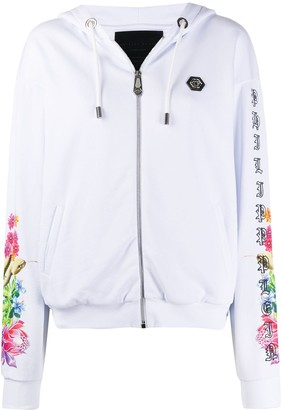 Philipp Plein Tropical Flower And Animal Skull Printed Hoodie