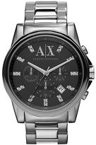 Armani Exchange Mens Round Silver and Grey Watch with Stone Accents