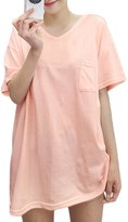 uxcell® Women V Neck Drop Shoulder Pocket Loose Tunic Shirt S