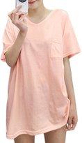 uxcell® Women V Neck Drop Shoulder Pocket Loose Tunic Shirt