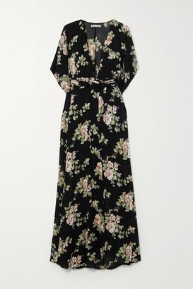 Reformation Winslow Floral-print Georgette Wrap Maxi Dress - Black